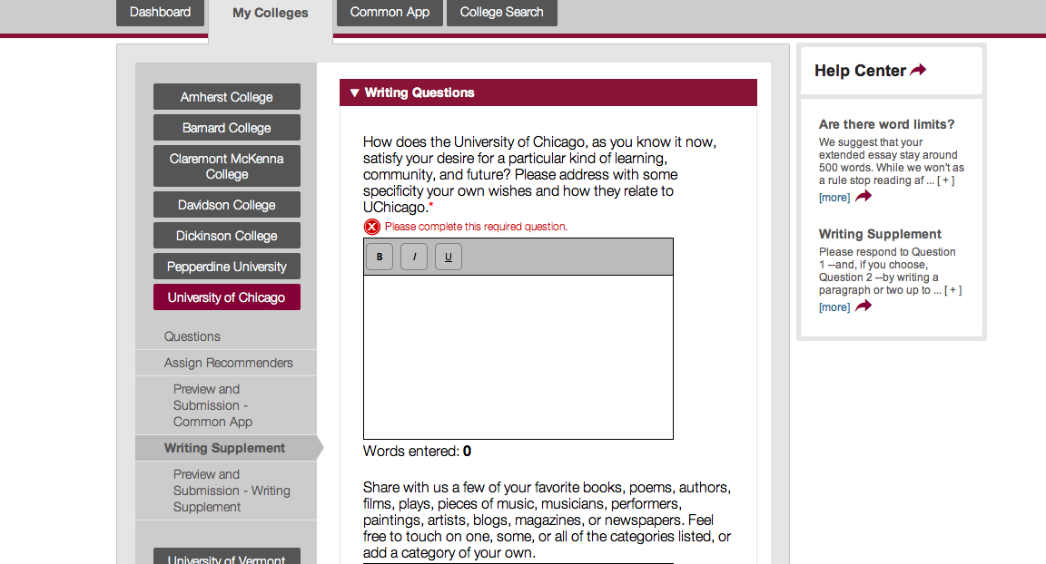 Common app essay word limit